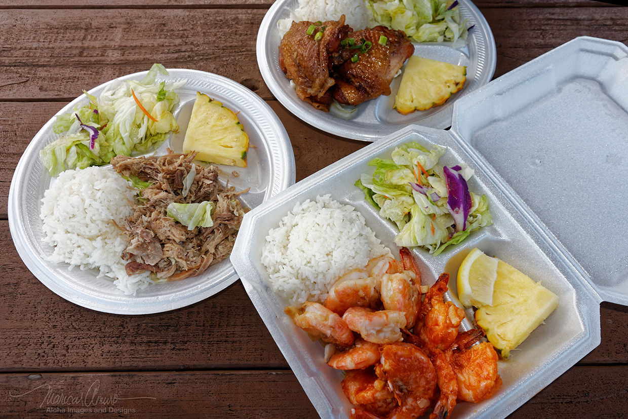 Hungry? Choose from our Shoyu Chicken, Kalua Pork, or Shrimp plate lunches